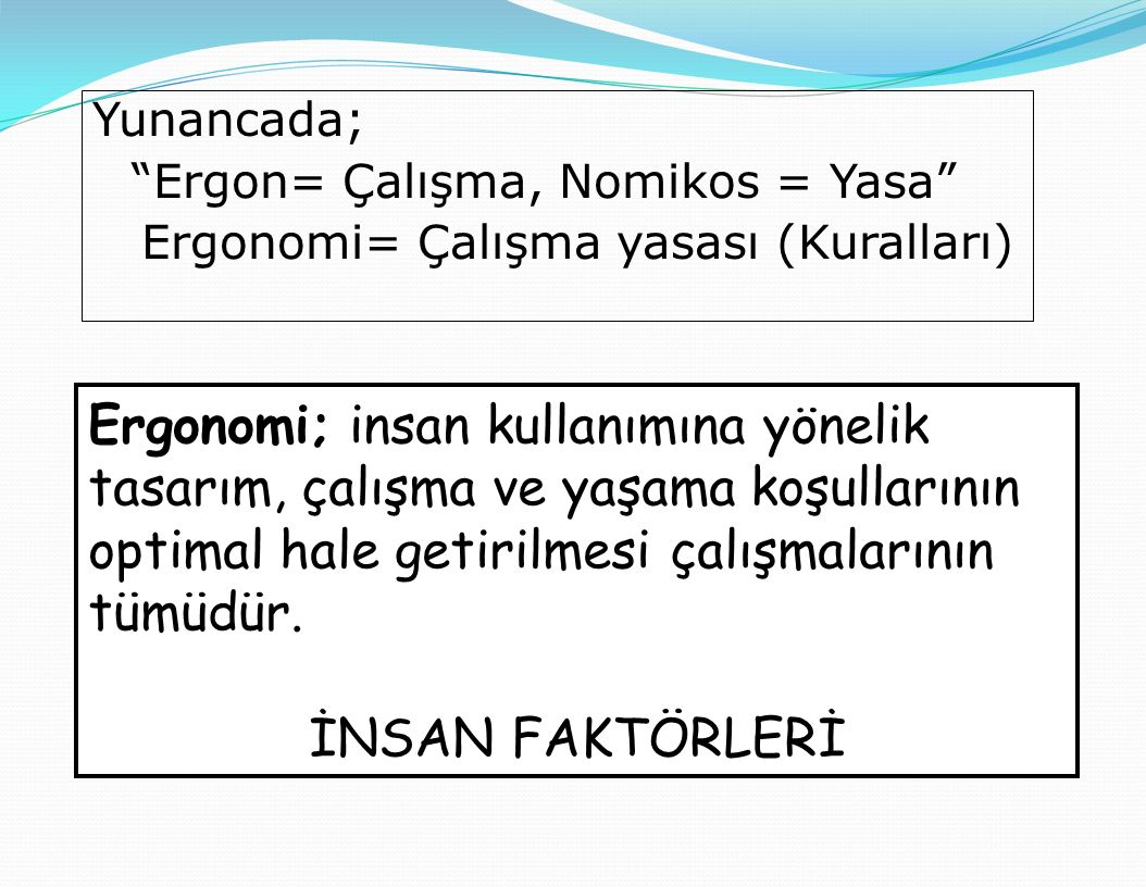 Yunancada; Ergon= Çalışma, Nomikos = Yasa Ergonomi= Çalışma yasası (Kuralları)
