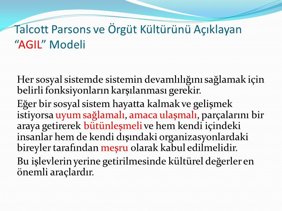 Talcott Parsons ve Örgüt Kültürünü Açıklayan AGIL Modeli