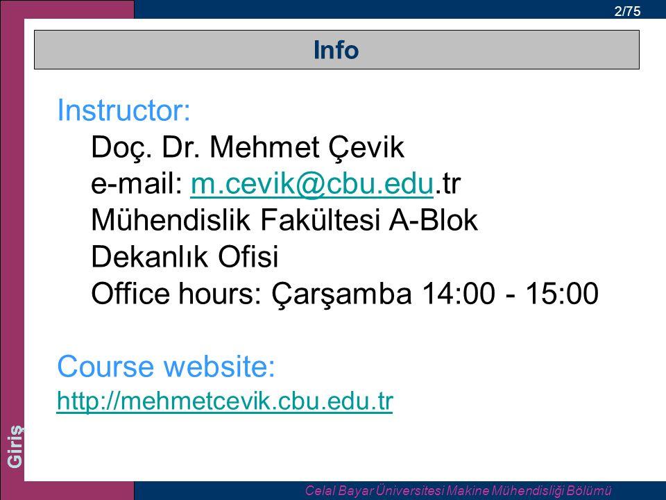 Celal Bayar Üniversitesi Makine Mühendisliği Bölümü