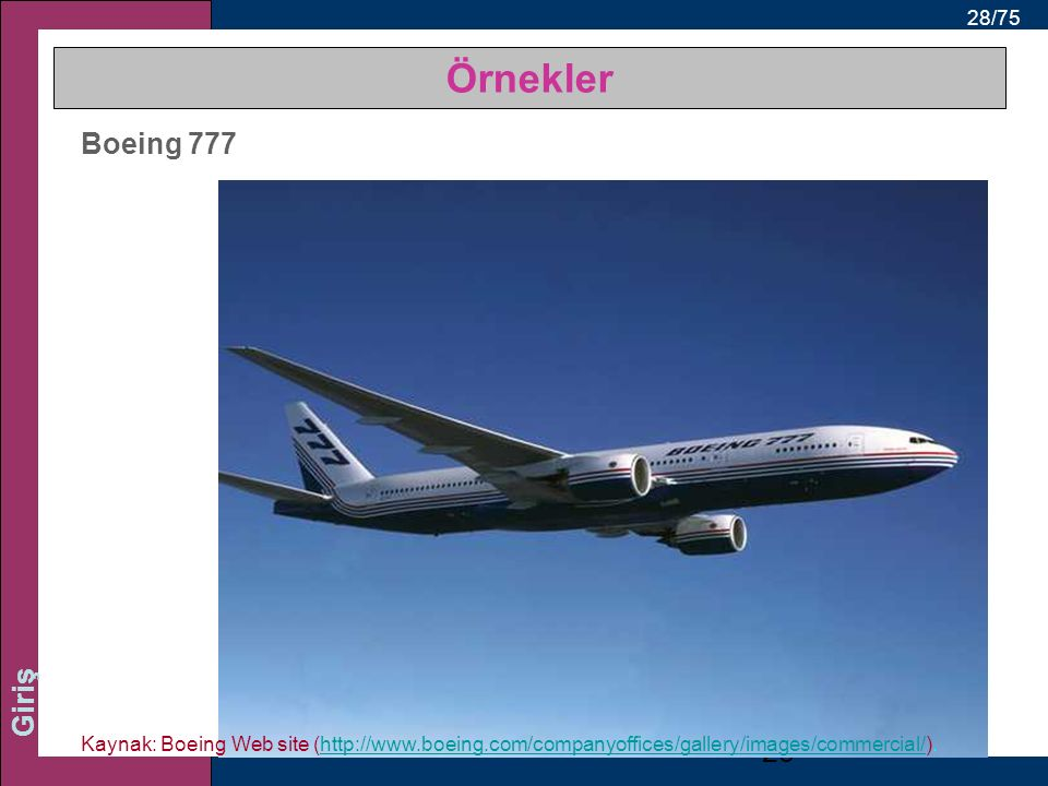 Örnekler Boeing 777.