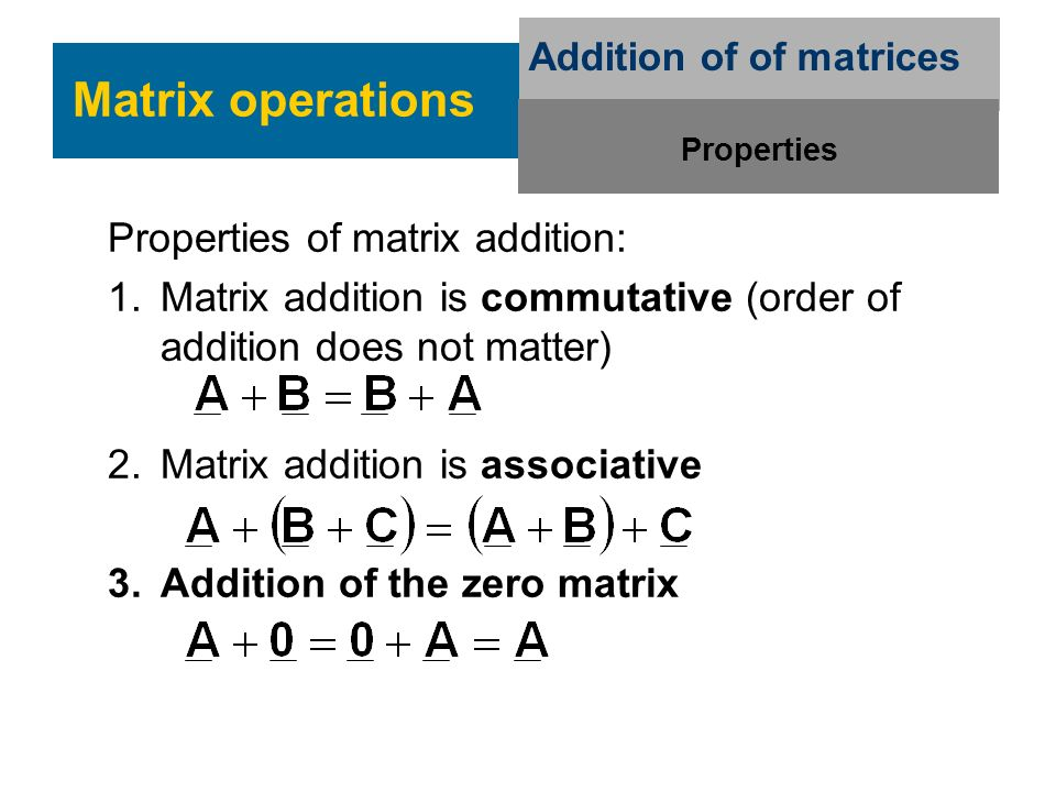 Addition of of matrices