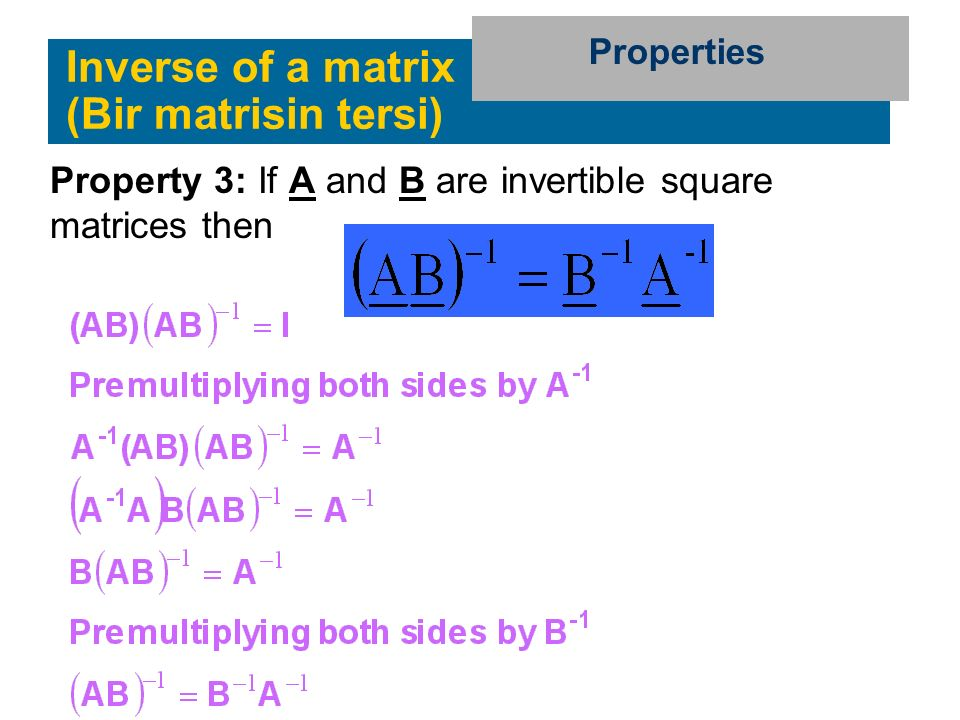 Inverse of a matrix (Bir matrisin tersi)