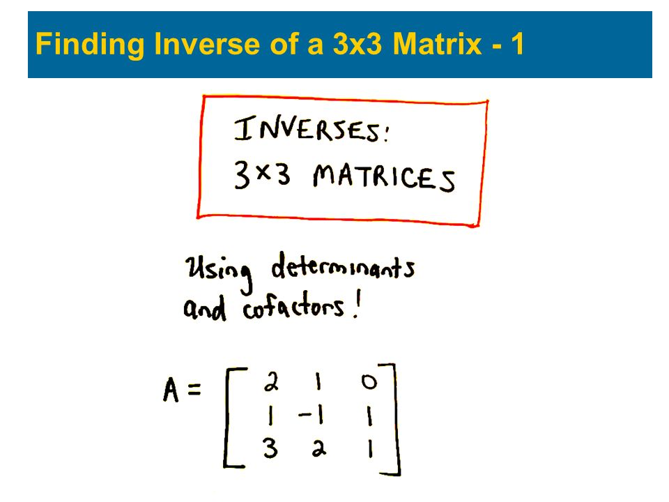 Finding Inverse of a 3x3 Matrix - 1