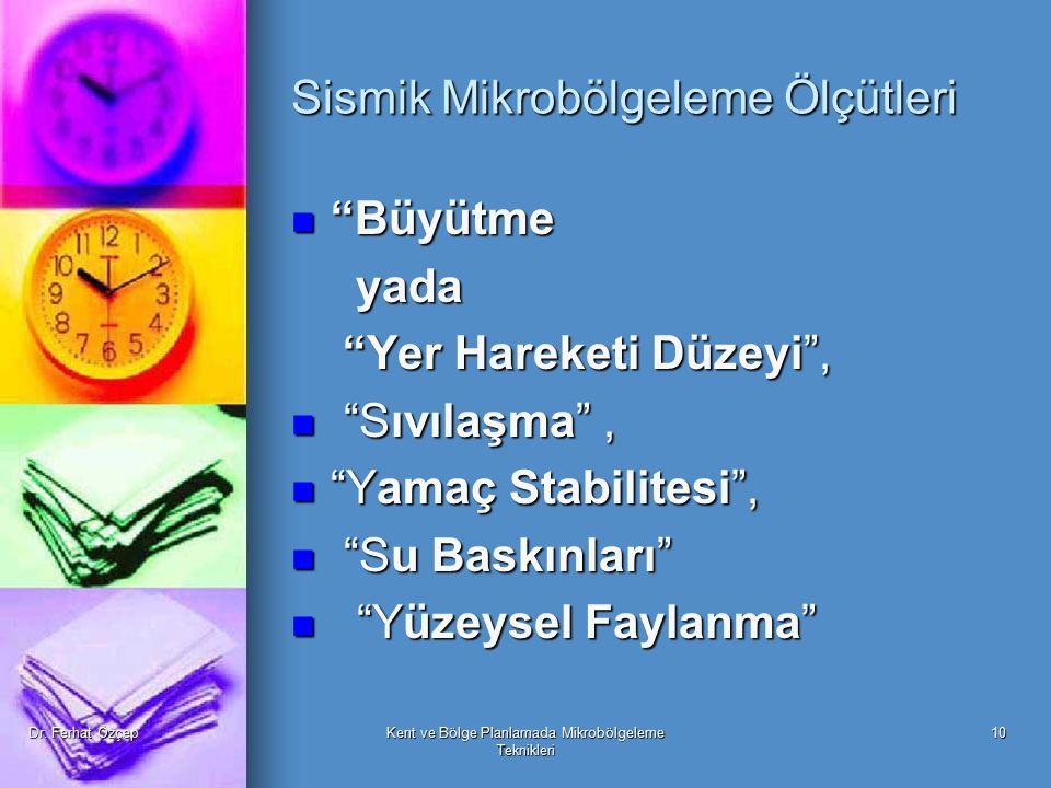 Sismik Mikrobölgeleme Ölçütleri