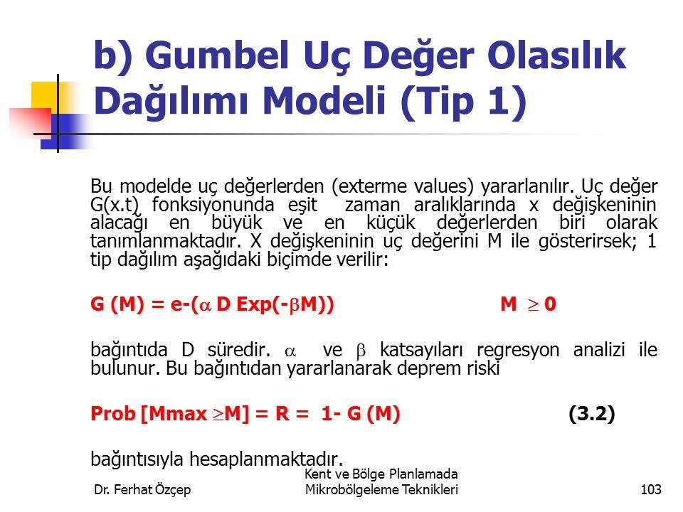 b) Gumbel Uç Değer Olasılık Dağılımı Modeli (Tip 1)
