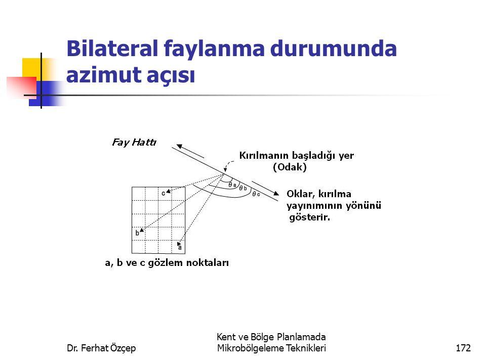Bilateral faylanma durumunda azimut açısı