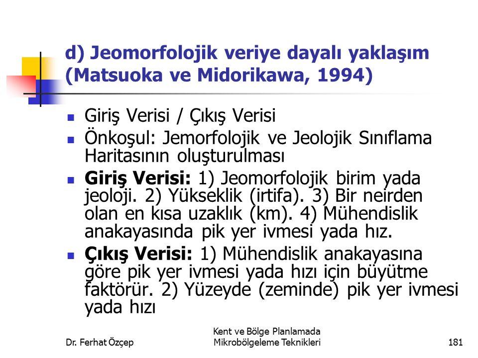d) Jeomorfolojik veriye dayalı yaklaşım (Matsuoka ve Midorikawa, 1994)