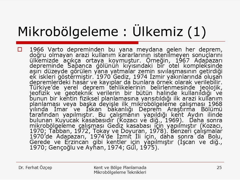 Mikrobölgeleme : Ülkemiz (1)