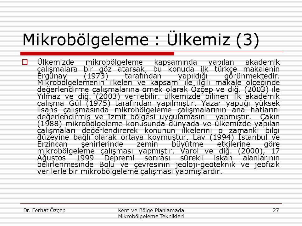 Mikrobölgeleme : Ülkemiz (3)