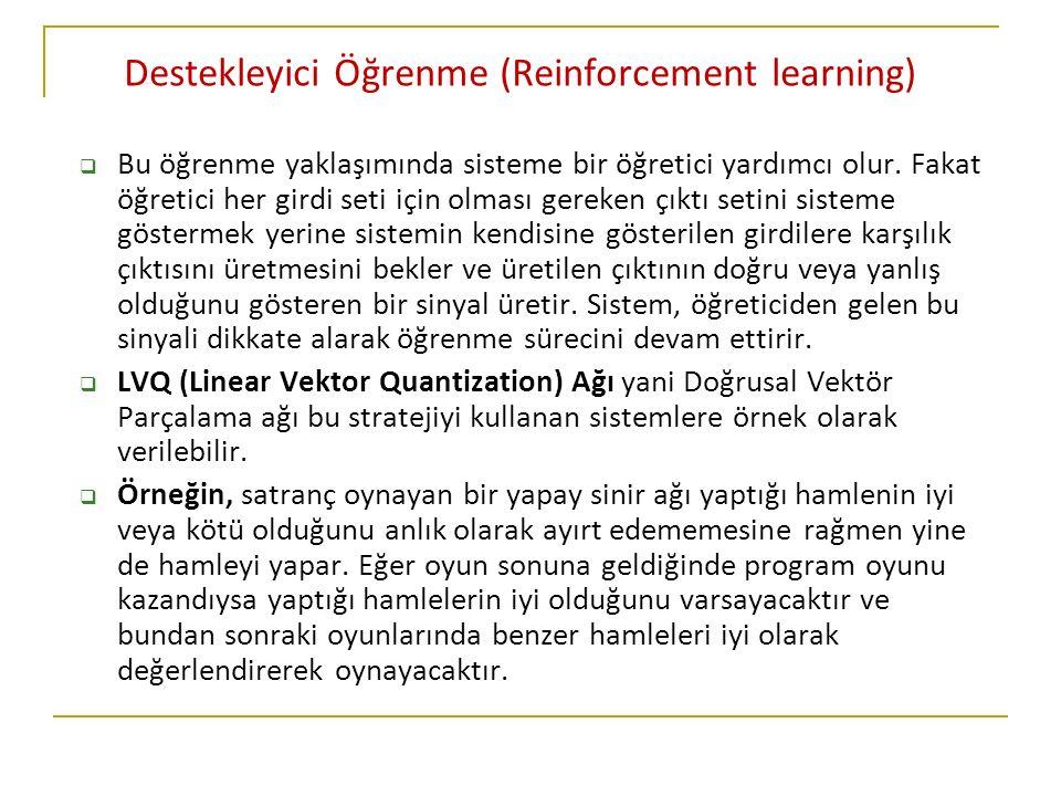 Destekleyici Öğrenme (Reinforcement learning)