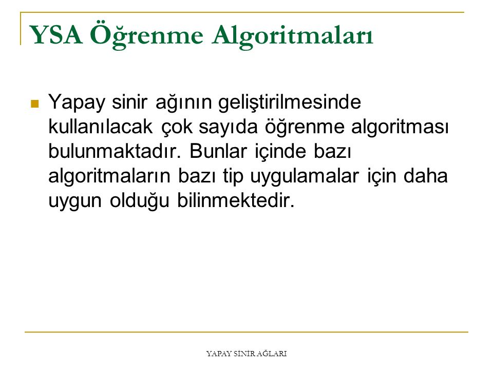 YSA Öğrenme Algoritmaları