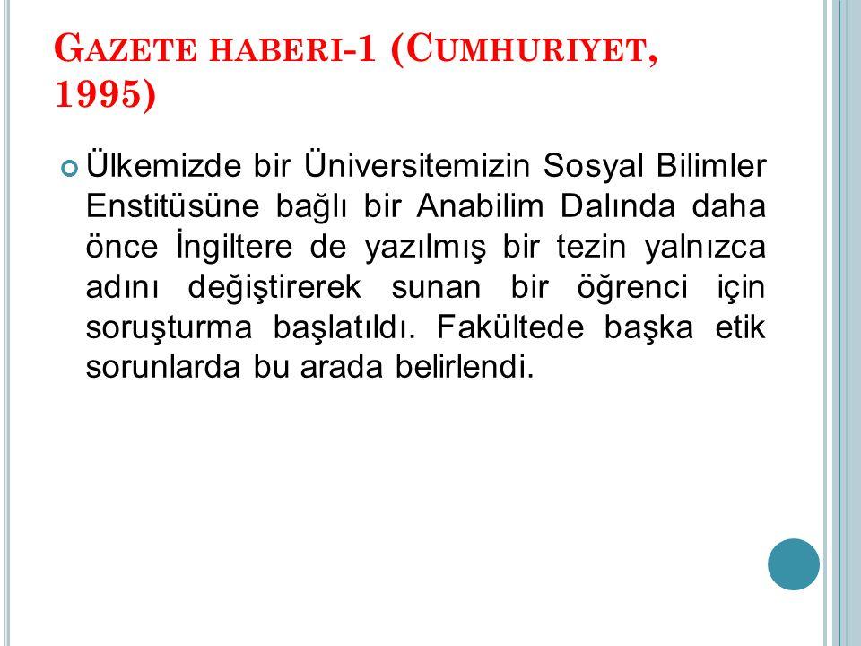 Gazete haberi-1 (Cumhuriyet, 1995)