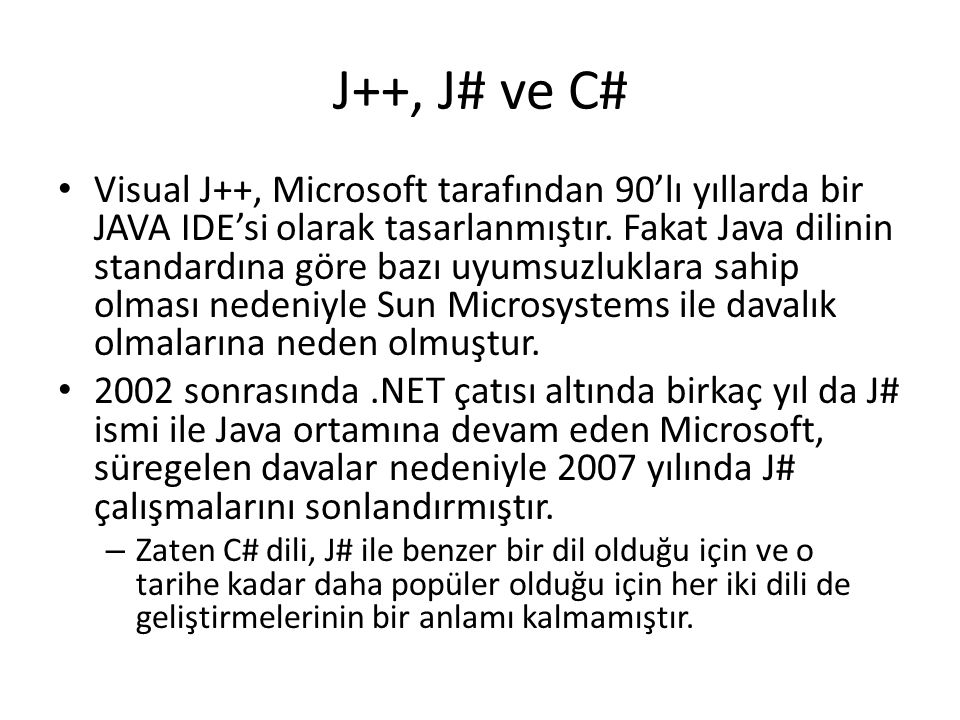 J++, J# ve C#