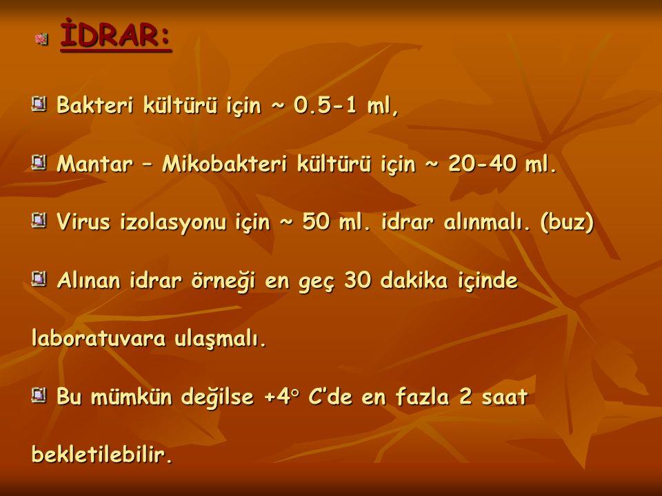 İDRAR: Bakteri kültürü için ~ 0.5-1 ml,