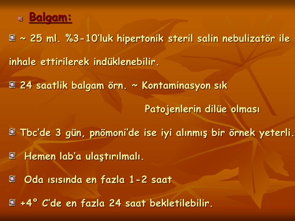 Balgam: ~ 25 ml. %3-10'luk hipertonik steril salin nebulizatör ile inhale ettirilerek indüklenebilir.