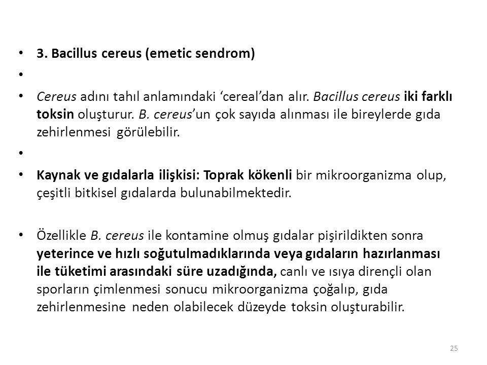 3. Bacillus cereus (emetic sendrom)