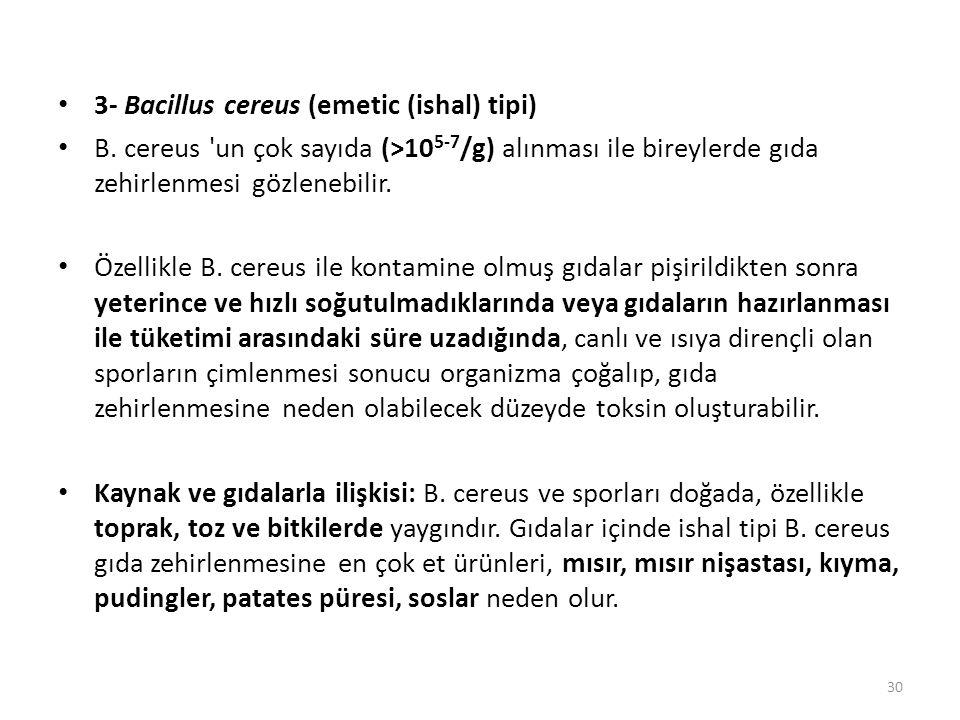 3- Bacillus cereus (emetic (ishal) tipi)
