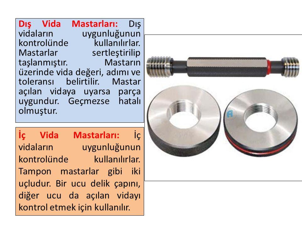 Dış Vida Mastarları: Dış vidaların uygunluğunun kontrolünde kullanılırlar. Mastarlar sertleştirilip taşlanmıştır. Mastarın üzerinde vida değeri, adımı ve toleransı belirtilir. Mastar açılan vidaya uyarsa parça uygundur. Geçmezse hatalı olmuştur.