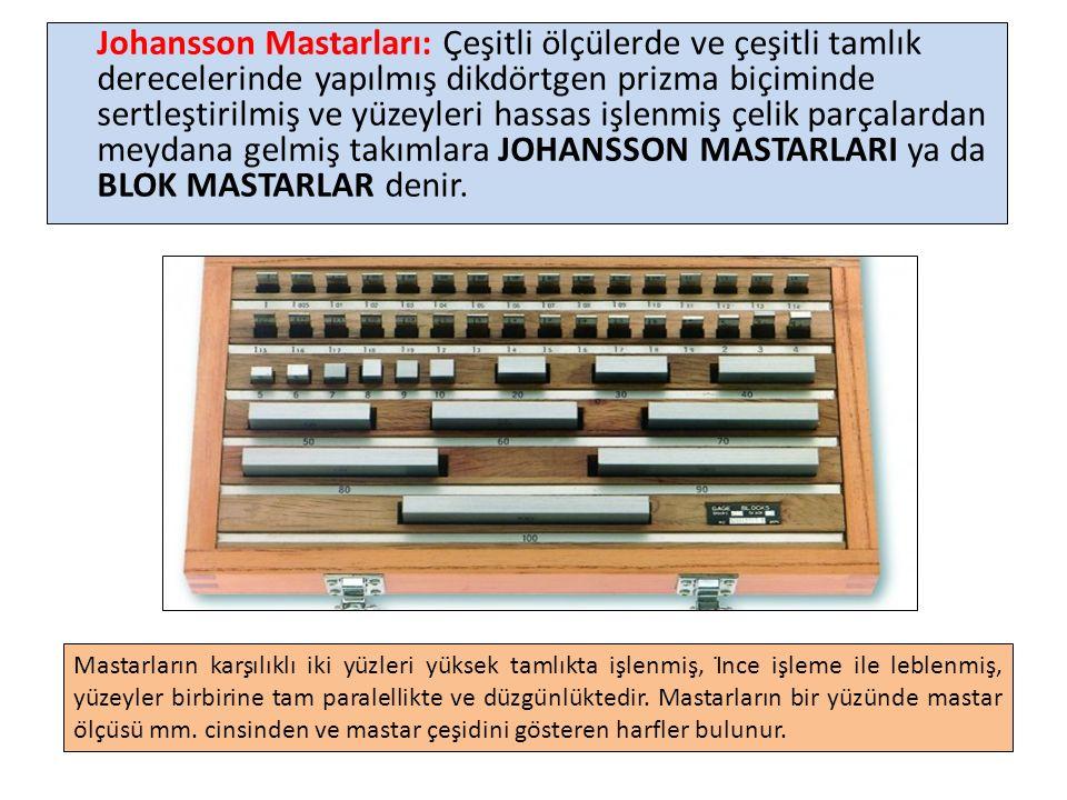 Johansson Mastarları: Çeşitli ölçülerde ve çeşitli tamlık derecelerinde yapılmış dikdörtgen prizma biçiminde sertleştirilmiş ve yüzeyleri hassas işlenmiş çelik parçalardan meydana gelmiş takımlara JOHANSSON MASTARLARI ya da BLOK MASTARLAR denir.