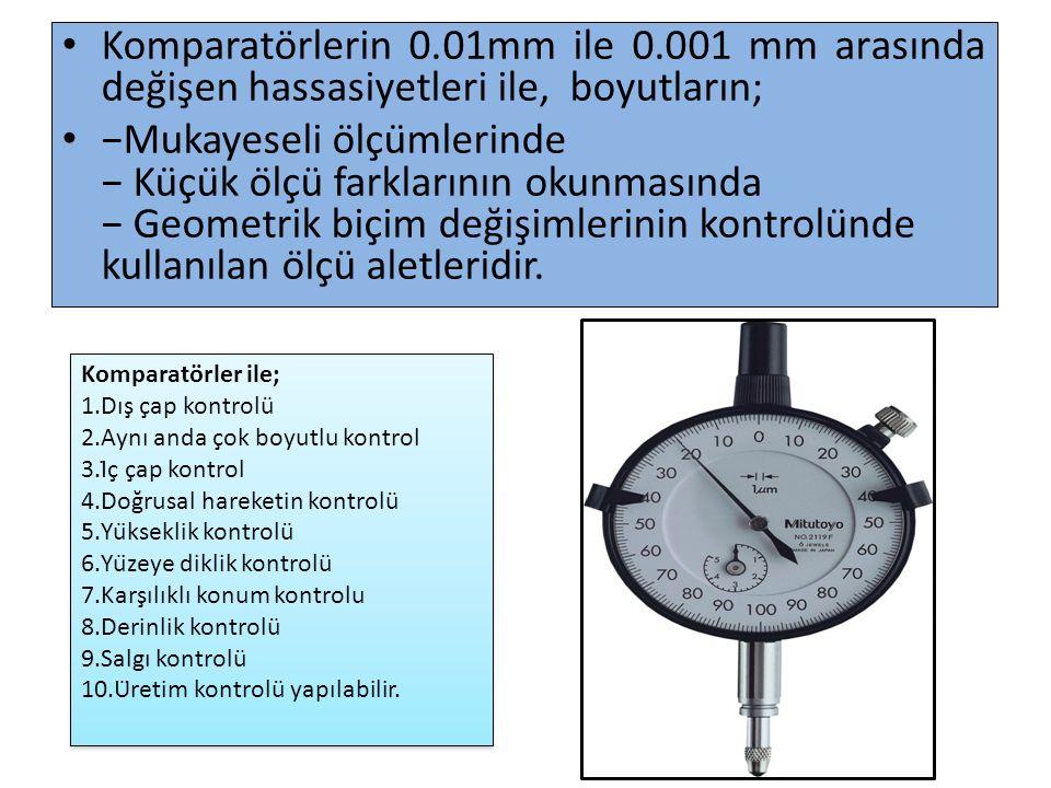 Komparatörlerin 0. 01mm ile 0