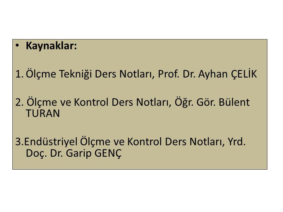 Kaynaklar: Ölçme Tekniği Ders Notları, Prof. Dr. Ayhan ÇELİK. 2. Ölçme ve Kontrol Ders Notları, Öğr. Gör. Bülent TURAN.