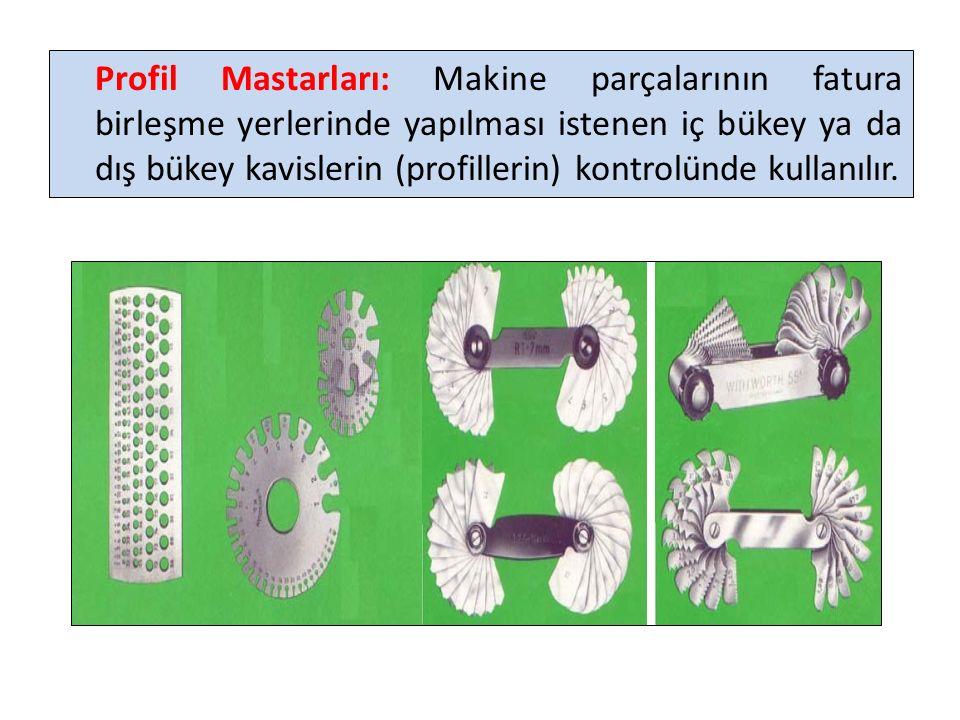Profil Mastarları: Makine parçalarının fatura birleşme yerlerinde yapılması istenen iç bükey ya da dış bükey kavislerin (profillerin) kontrolünde kullanılır.