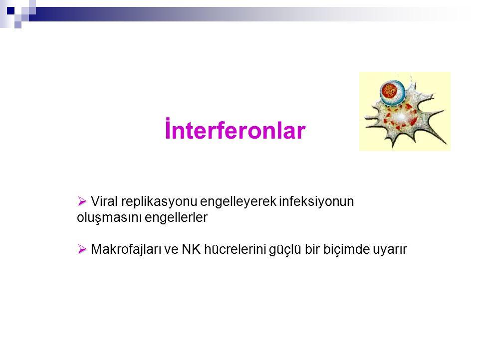 İnterferonlar  Viral replikasyonu engelleyerek infeksiyonun oluşmasını engellerler.