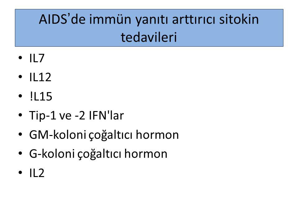 AIDS'de immün yanıtı arttırıcı sitokin tedavileri
