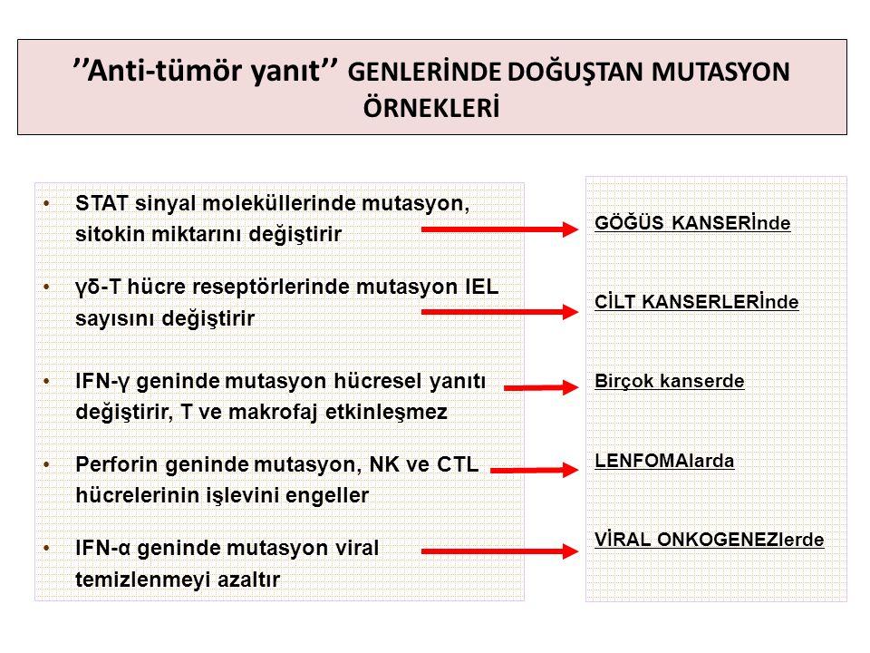 ''Anti-tümör yanıt'' GENLERİNDE DOĞUŞTAN MUTASYON ÖRNEKLERİ