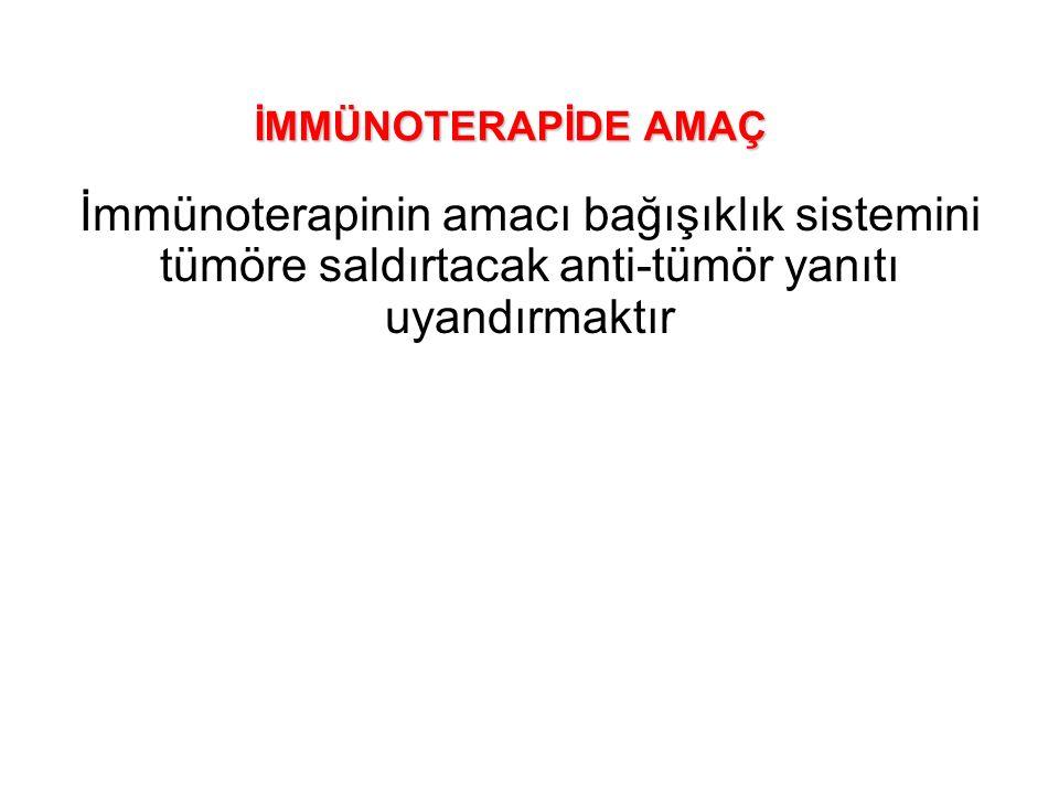 İMMÜNOTERAPİDE AMAÇ İmmünoterapinin amacı bağışıklık sistemini tümöre saldırtacak anti-tümör yanıtı uyandırmaktır.
