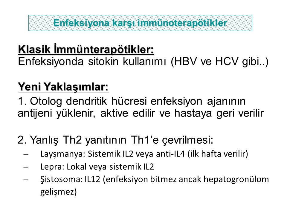 Enfeksiyona karşı immünoterapötikler