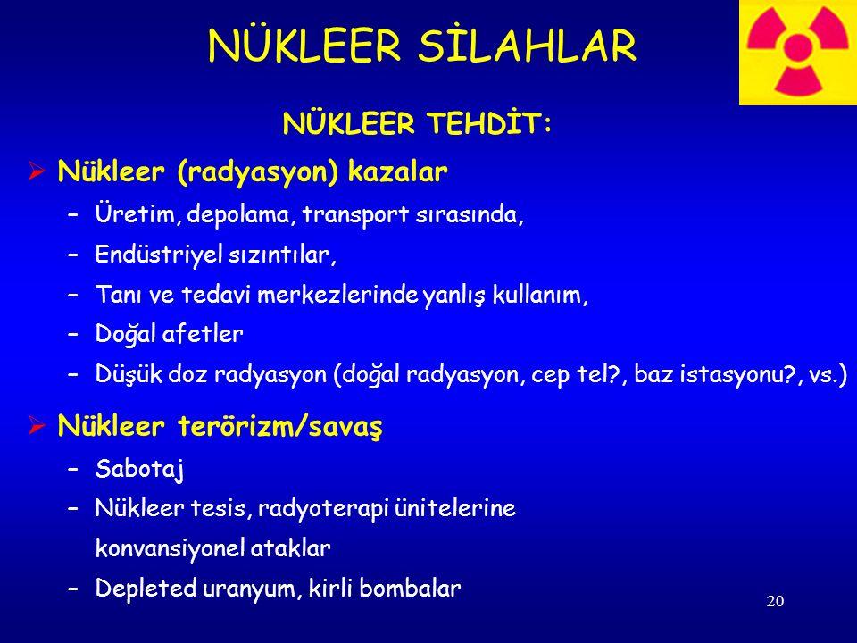 NÜKLEER SİLAHLAR NÜKLEER TEHDİT: Nükleer (radyasyon) kazalar