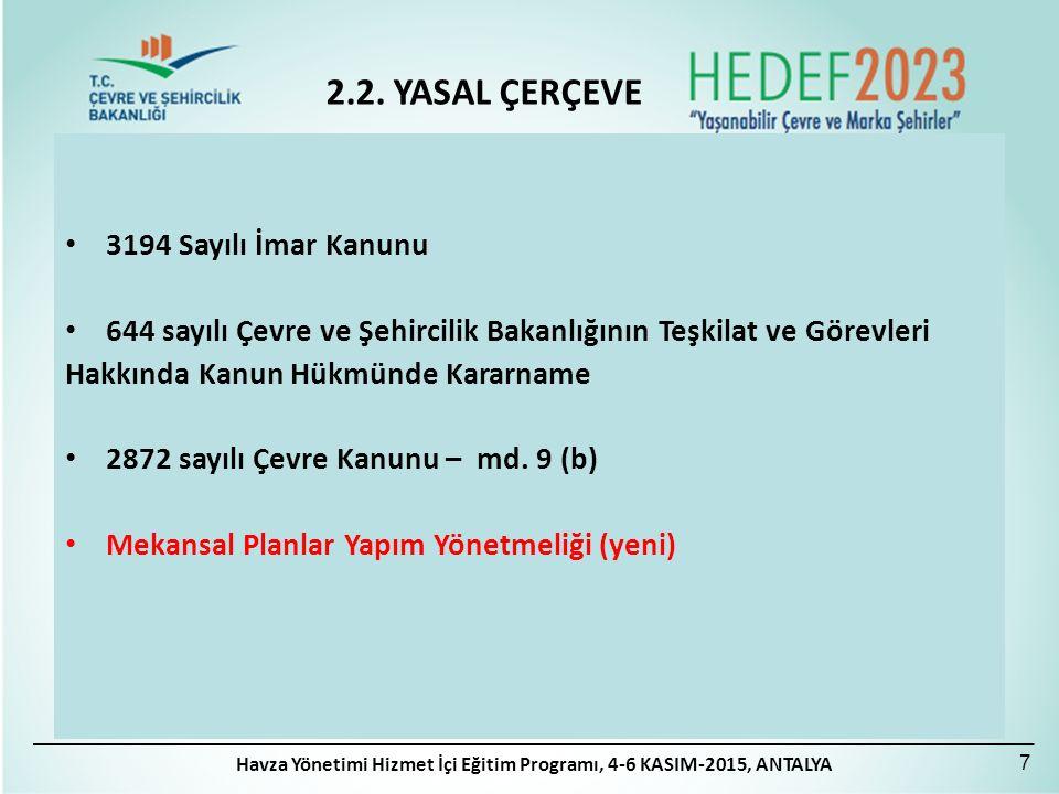Havza Yönetimi Hizmet İçi Eğitim Programı, 4-6 KASIM-2015, ANTALYA