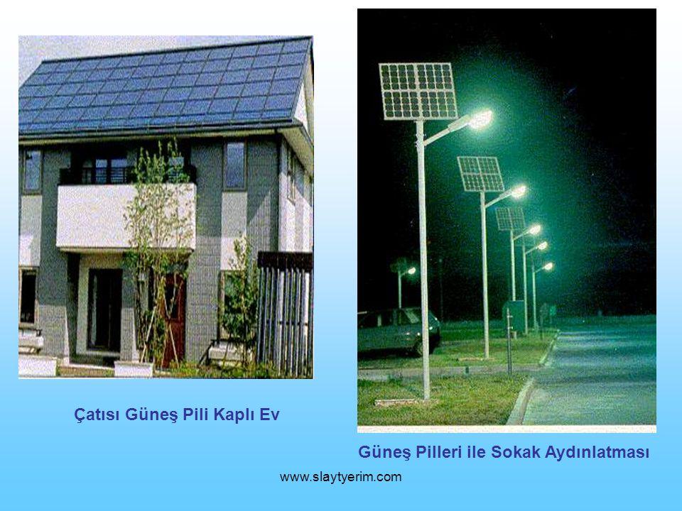 Çatısı Güneş Pili Kaplı Ev Güneş Pilleri ile Sokak Aydınlatması
