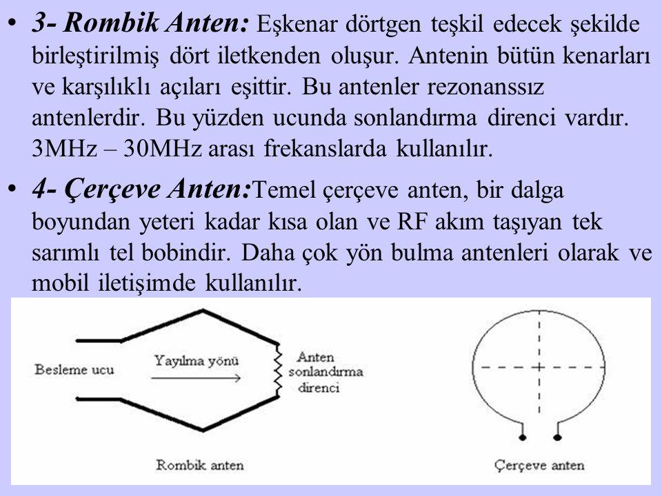 3- Rombik Anten: Eşkenar dörtgen teşkil edecek şekilde birleştirilmiş dört iletkenden oluşur. Antenin bütün kenarları ve karşılıklı açıları eşittir. Bu antenler rezonanssız antenlerdir. Bu yüzden ucunda sonlandırma direnci vardır. 3MHz – 30MHz arası frekanslarda kullanılır.