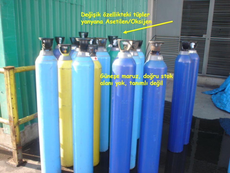 Değişik özellikteki tüpler yanyana Asetilen/Oksijen