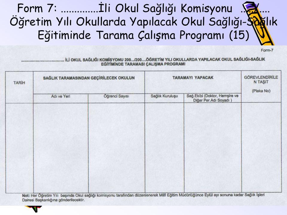 Form 7:. İli Okul Sağlığı Komisyonu. /