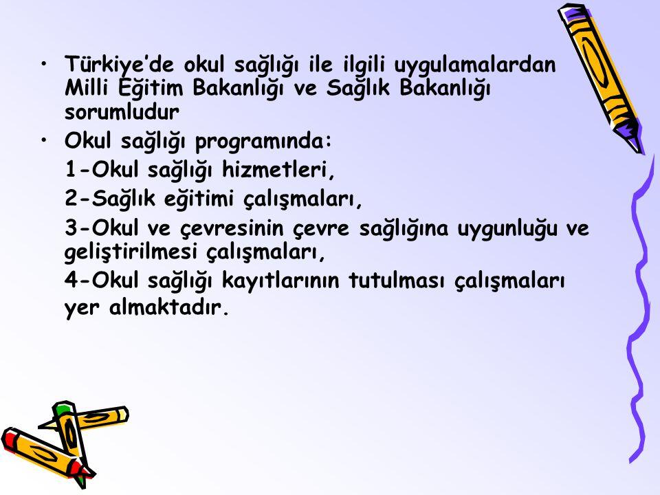 Türkiye'de okul sağlığı ile ilgili uygulamalardan Milli Eğitim Bakanlığı ve Sağlık Bakanlığı sorumludur