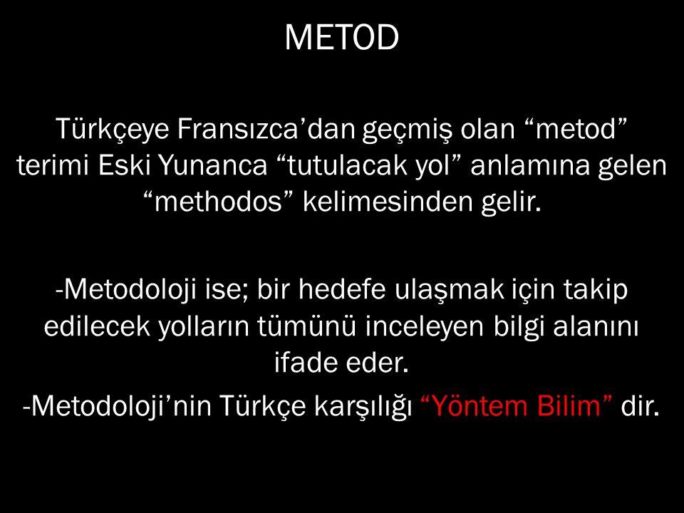 -Metodoloji'nin Türkçe karşılığı Yöntem Bilim dir.