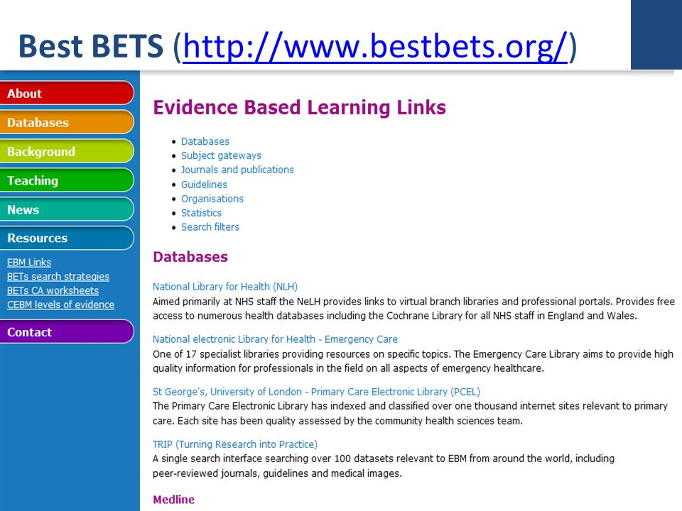 Best BETS (http://www.bestbets.org/)