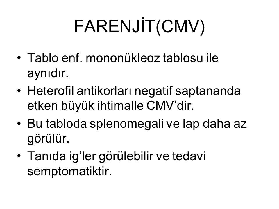 FARENJİT(CMV) Tablo enf. mononükleoz tablosu ile aynıdır.