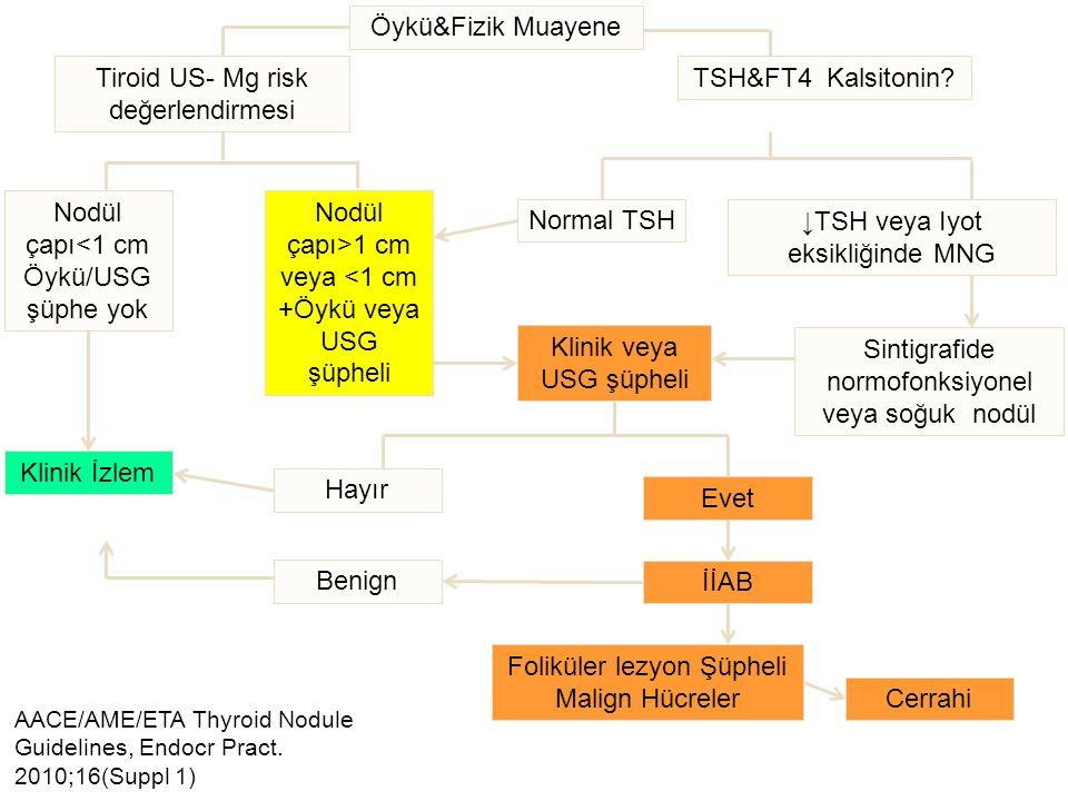 Tiroid US- Mg risk değerlendirmesi TSH&FT4 Kalsitonin