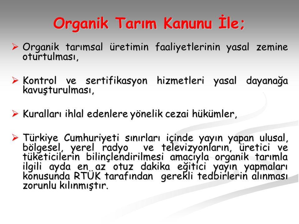 Organik Tarım Kanunu İle;