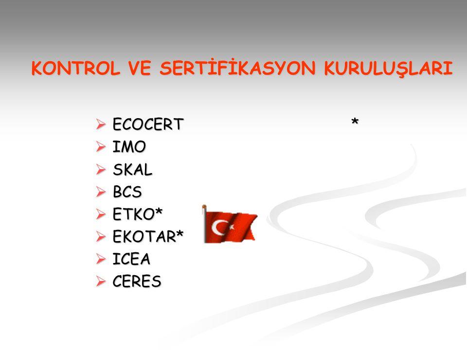 KONTROL VE SERTİFİKASYON KURULUŞLARI