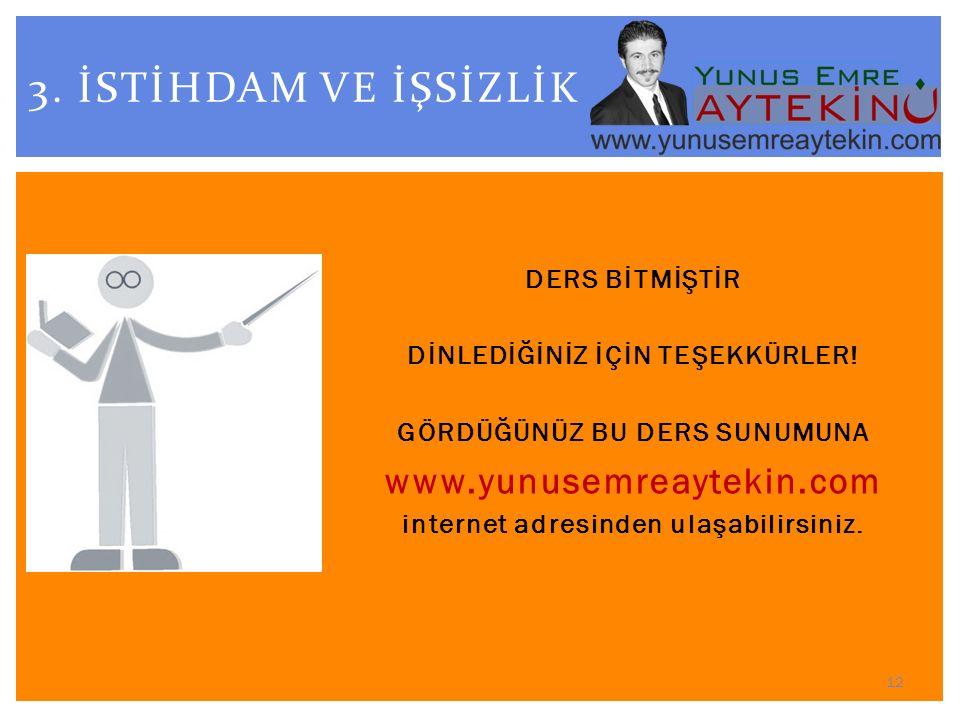 3. İSTİHDAM VE İŞSİZLİK www.yunusemreaytekin.com DERS BİTMİŞTİR