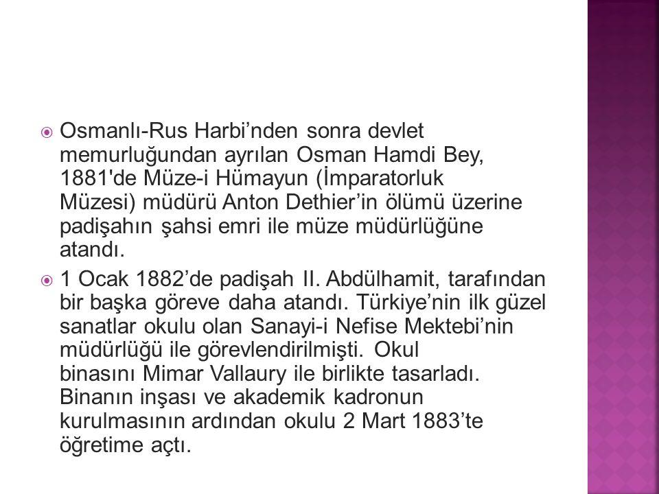 Osmanlı-Rus Harbi'nden sonra devlet memurluğundan ayrılan Osman Hamdi Bey, 1881 de Müze-i Hümayun (İmparatorluk Müzesi) müdürü Anton Dethier'in ölümü üzerine padişahın şahsi emri ile müze müdürlüğüne atandı.