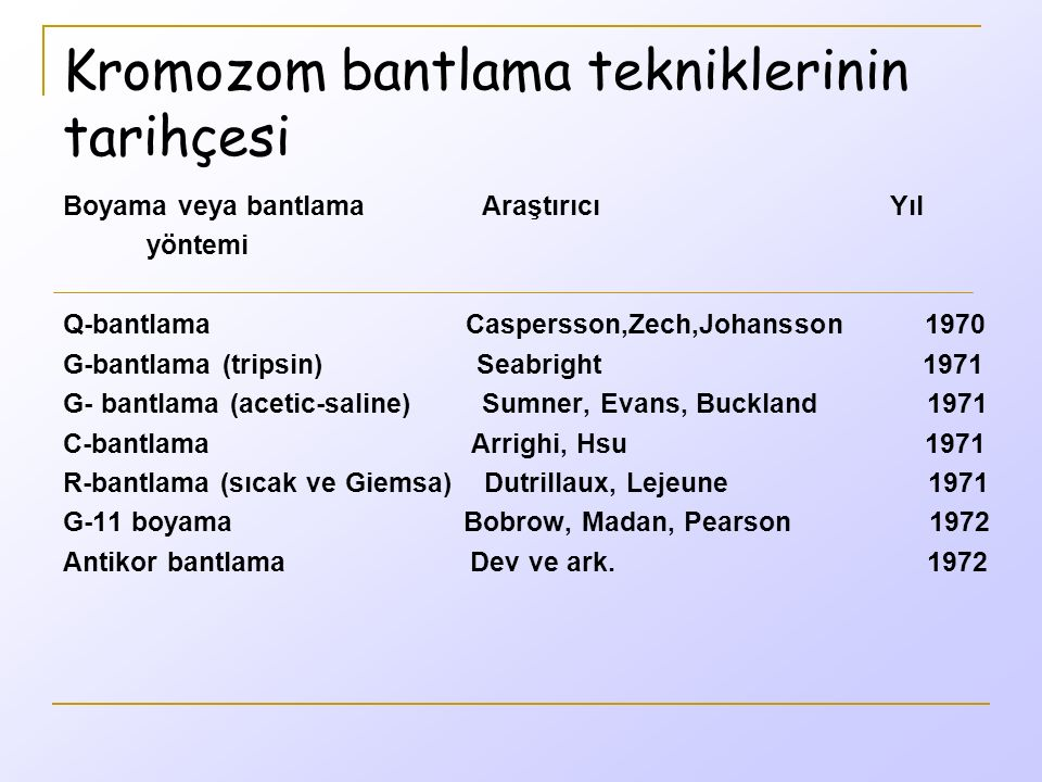 Kromozom bantlama tekniklerinin tarihçesi