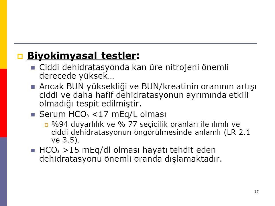Biyokimyasal testler: