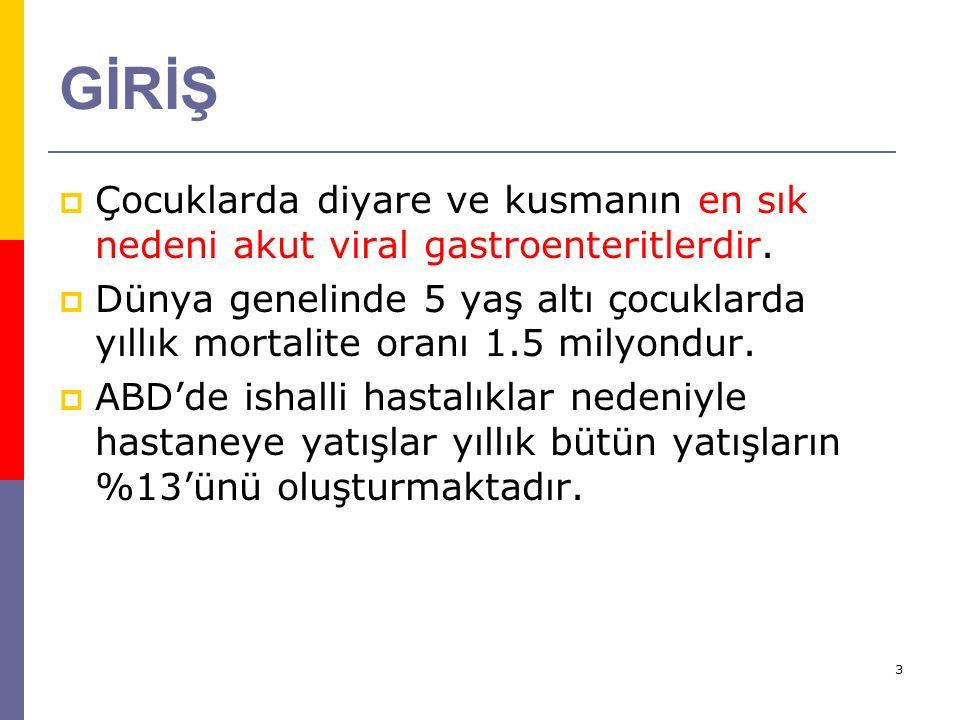 GİRİŞ Çocuklarda diyare ve kusmanın en sık nedeni akut viral gastroenteritlerdir.