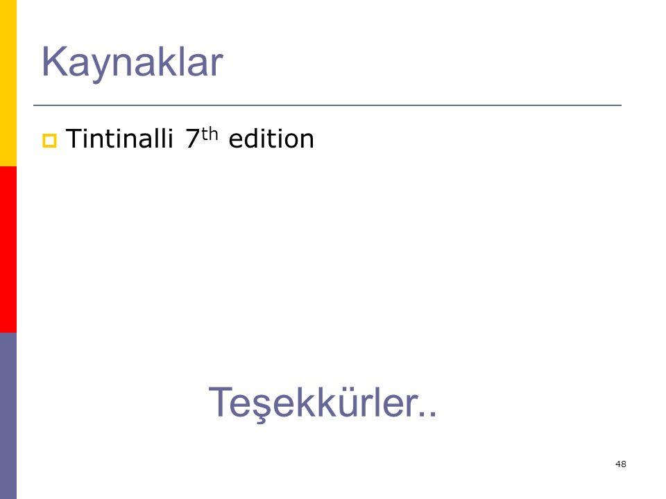 Kaynaklar Tintinalli 7th edition Teşekkürler..